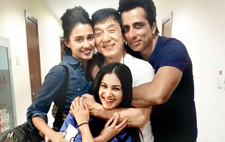 Jackie with his Kung Fu Yoga co-stars