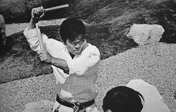 A classic Demura Nunchaku pose