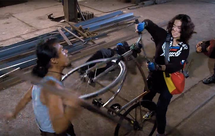 Jukkalan with her badass bike