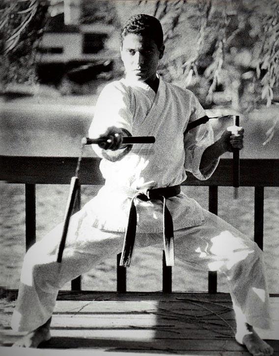 Kevin Derek in 1985 practising with Nunchakus