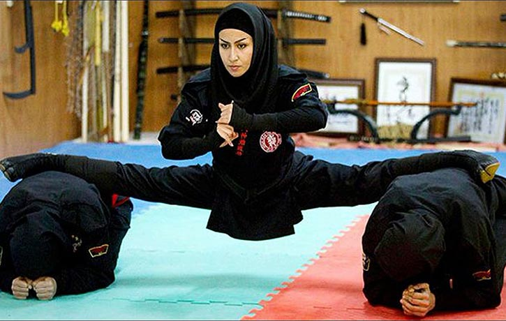 Raheleh Davoudzadeh of Iran shows her Ninja skills