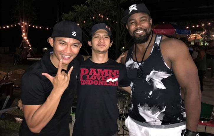 Mike with Tony Jaa and Iko Uwais on the set of upcoming Triple Threat!
