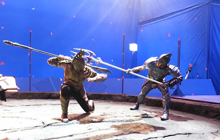 Rehearsing Arthur and Orm's gladiatorial match