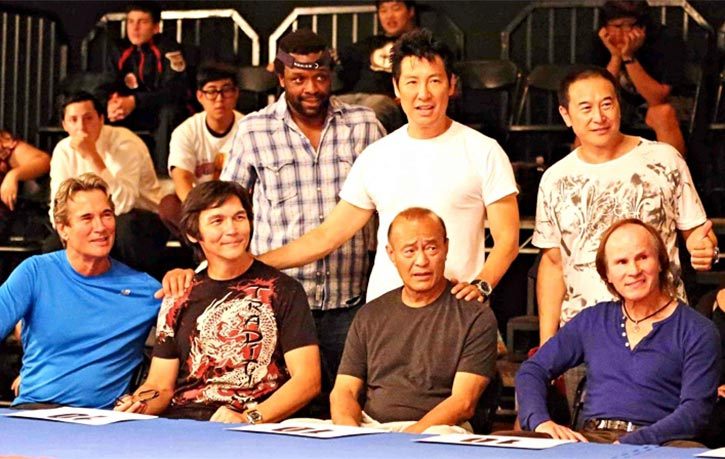 Don with Richard Norton, Phillip Rhee, Dan Inosanto, James Lew, and Benny Urquidez on the set of Underdog Kids!