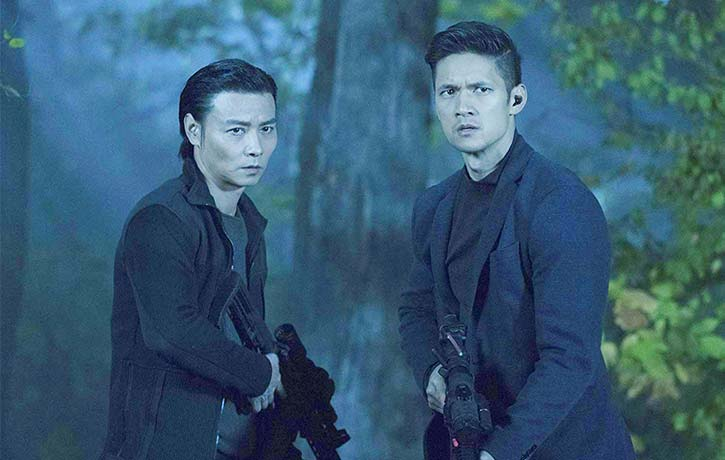 Max with Harry Shum Jr. in Escape Plan 3