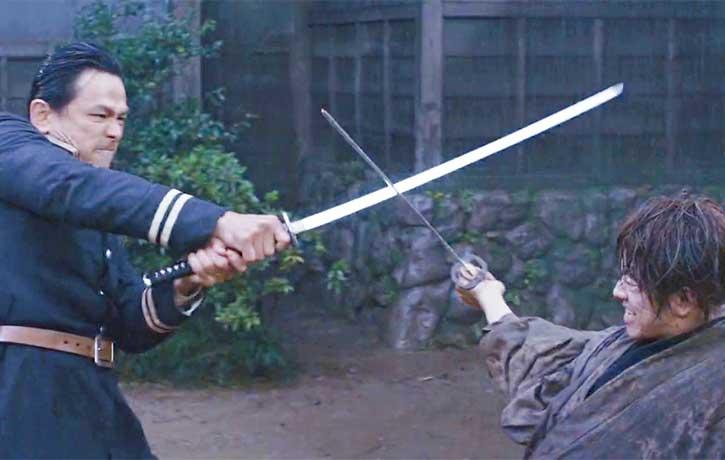 Hajime Saito faces off against Kenshin Himura