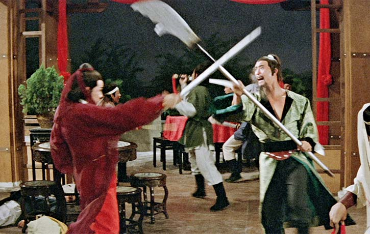 The opening fight is a mass brawl featuring many traditional weapons