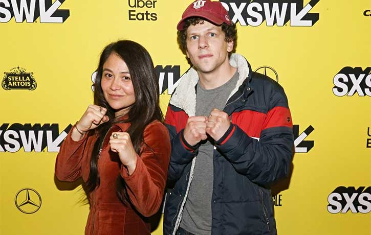 Mindy with Jesse Eisenberg at the premiere of The Art of Self-Defense