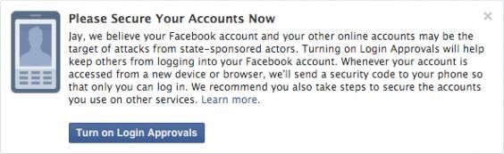 facebook cảnh báo tài khoản bị xâm nhập bởi chính phủ