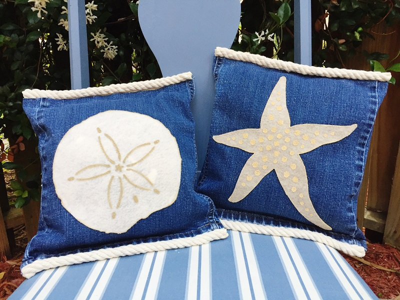 04-17 HOW TO MAKE STARFISH AND SAND DOLLAR DENIM PILLOWS BETH WATSON 10