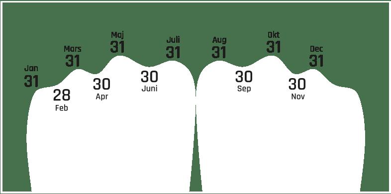 Räkna månader på knogarna