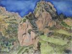Aquarell einer Kapelle am Felsen in den Pyrenäen