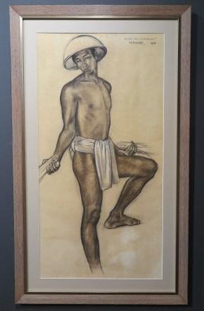 """Rudolf Bonnet, Studie voor """"De Toradja's"""", Pastel en krijt op papier, 104 x 53 cm ,1946"""