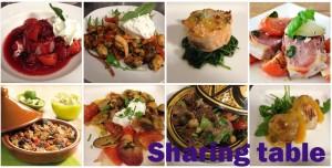 sharing table met schrrift