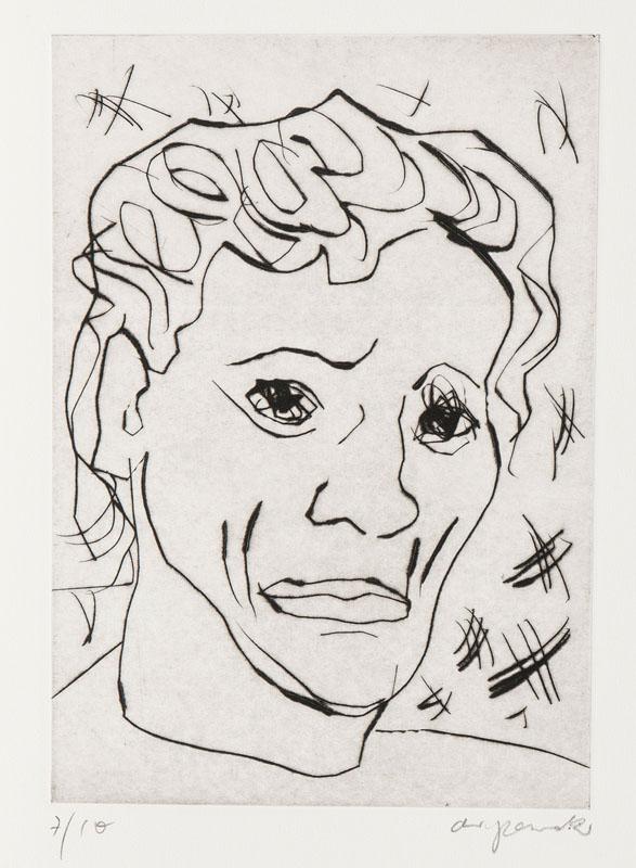 A.R. Penck (Dresden 1939)  eigentl. Ralf Winkler   Kopf   Kaltnadel Radierung Druck 29,5 x 21 cm, Blatt  54 x 39 cm r. u. mit Bleistift sign. ar. penck, l. u. num. 7/10 ungerahmt