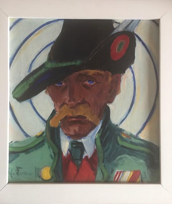 Erich Fraaß, Jäger Kreiser als Tiroler Schütze, leiten Tirol,1926 50x47cm, Öl/Lw., signiert
