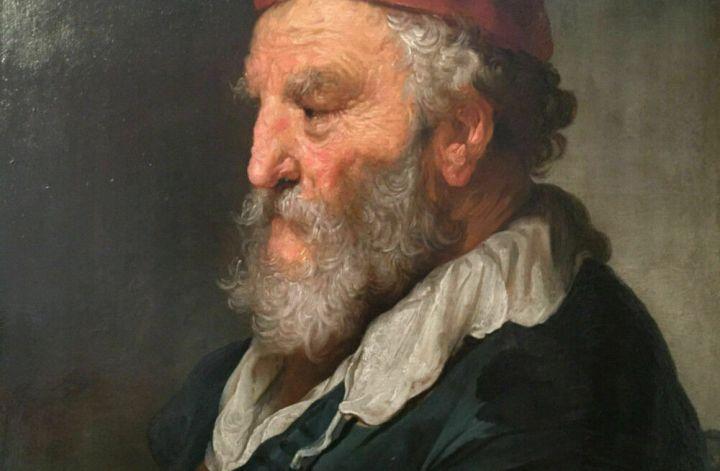 Govaert Flinck (* 25. Januar 1615 in Kleve; † 2. Februar 1660 in Amsterdam) Alter Mann mit roter Kappe Bez. u. li.: G flinck:f / 16.. (letzte zwei Ziffern nicht sicher lesbar) Öl auf Holz, 71,5 x 53,5 cm