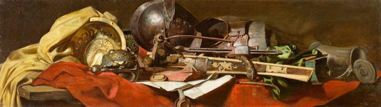 """Max Thedy München 1858 – 1924 Polling """"Die Waffen eines Herrn"""" / """"Die Schätze einer Dame"""" (Zwei Supraporten). 1880er-Jahre Jeweils Öl auf Leinwand. 42,5×147cm bzw. 45×147cm. (16¾×57⅞in. bzw. 17¾×57⅞in.) Bild 1 unten rechts mit Signaturrest: M[…]. Bild 2 unten rechts signiert: Max Thedy. [3387] Gerahmt ProvenienzEhemals The Closson Galleries, Cincinnati (lt. rückseitigem Etikett), und Lawrence Steigrad Fine Arts, New York (bis 2001)"""