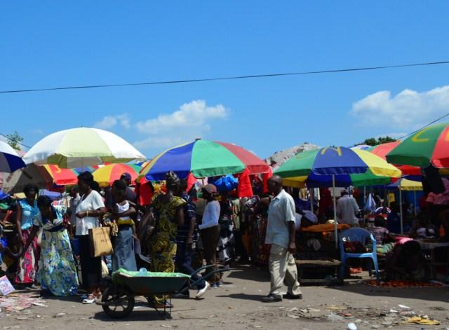 Brazzaville, Congo: road side market