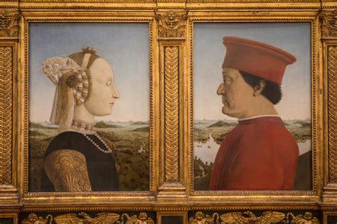 de portretten van hertog en hertogin van Urbino van Michaelangelo