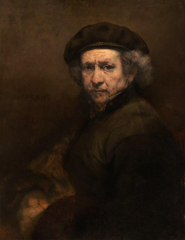 Zelfportret met baret en opstaande kraag - Rembrandt