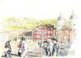 """""""Alte Bruecke, Heidelberg"""" Aleana Steinlechner Zeichnung KUNSTMASSNAHMEN"""