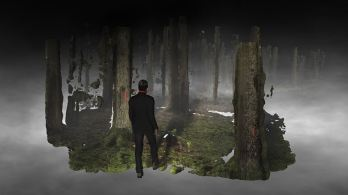 Still from film : Forest on Location, Broersen & Lukács. Song by Shahram Yazdani, Music by Berend Dubbe & Gwendolyn Thomas.