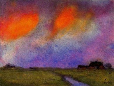Emil Nolde, aquarel Landschap onder avondlucht
