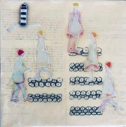 Op de dijk. Vele lagen over elkaar: collage, tekening en acrylverf met medium op een canvas doekje, op hout gespannen. Hester van Dapperen.