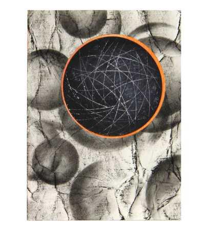 Black Planet, 14,8 x 10,5 cm, mixed media op papier. Lenneke van der Goot