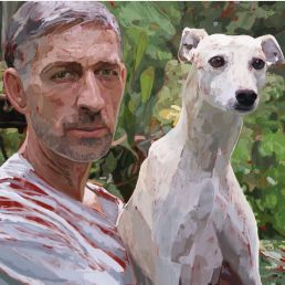 love between a man and a whippet @catdogvilleart