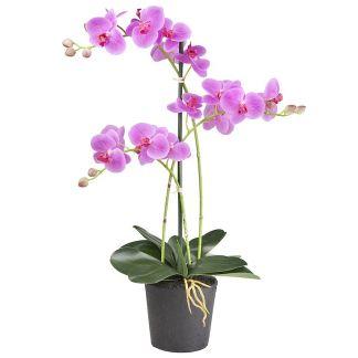 HTT Decorations - Kunstplant Orchidee / Phalaenopsis 3-tak roze 63 cm hoog - Kunstplantshop.nl