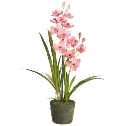 HTT Decorations - Kunstplant Orchidee / Cymbidium 2-tak roze H60cm - kunstplantshop.nl