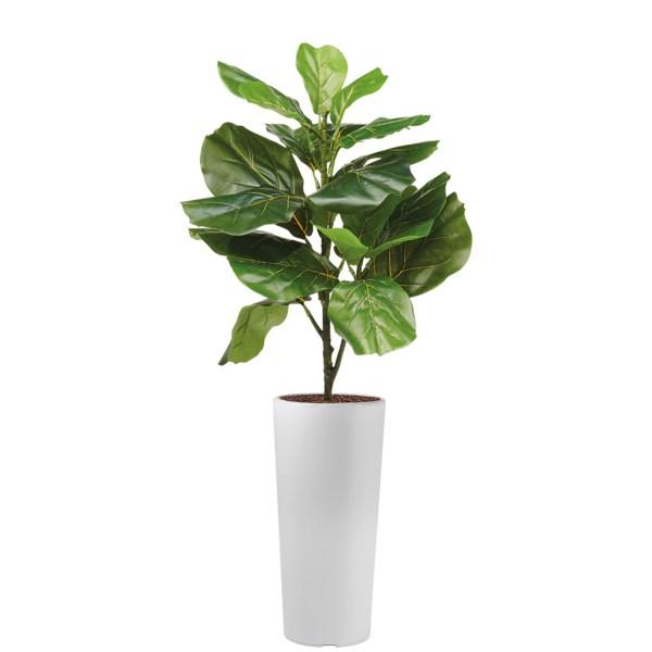 HTT - Kunstplant Ficus Lyrata in Clou rond wit H115 cm - kunstplantshop.nl