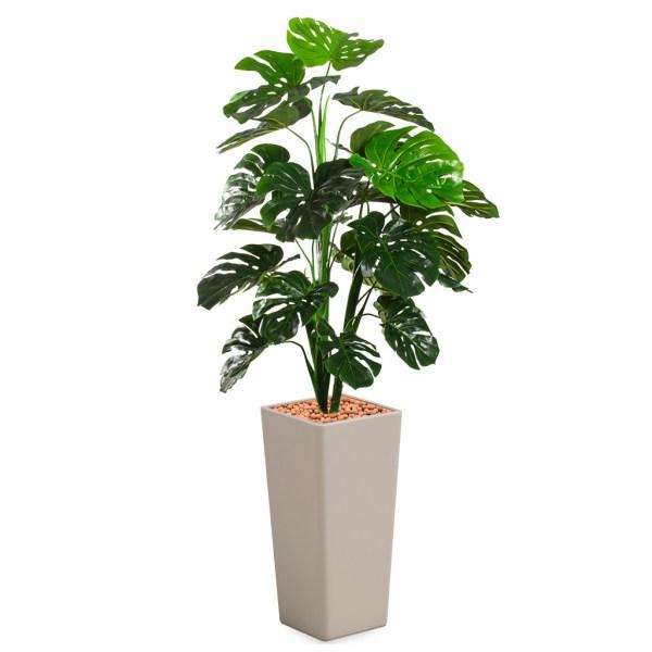 HTT - Kunstplant Monstera in Clou vierkant taupe H185 cm - kunstplantshop.nl