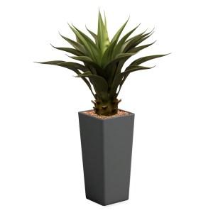 HTT - Kunstplant Agave vetplant in Clou vierkant antraciet H105 cm - kunstplantshop.nl