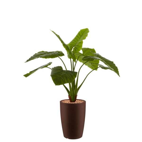 HTT - Kunstplant Philodendron in Genesis rond bruin H140 cm - kunstplantshop.nl