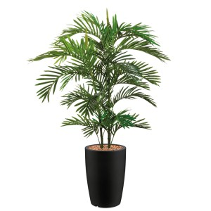 HTT - Kunstplant Areca palm in Genesis rond antraciet H150 cm - kunstplantshop.nl