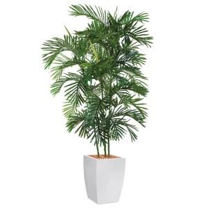 HTT - Kunstplant Areca palm in Genesis vierkant wit H210 cm - kunstplantshop.nl