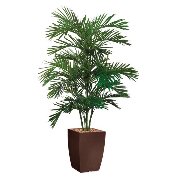 HTT - Kunstplant Areca palm in Genesis vierkant bruin H180 cm - kunstplantshop.nl