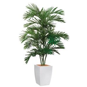HTT - Kunstplant Areca palm in Genesis vierkant wit H180 cm - kunstplantshop.nl