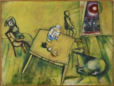 Marc Chagall - Das gelbe Zimmer (La chambre jaune), 1911 Öl auf Leinwand, 84.2 x 112 cm © Fondation Beyeler, Riehen, Basel / ProLitteris, Zürich