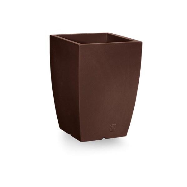 VECA - Bloempot Genesis, vierkant, H50 cm, bruin - kunststofbloempot.nl