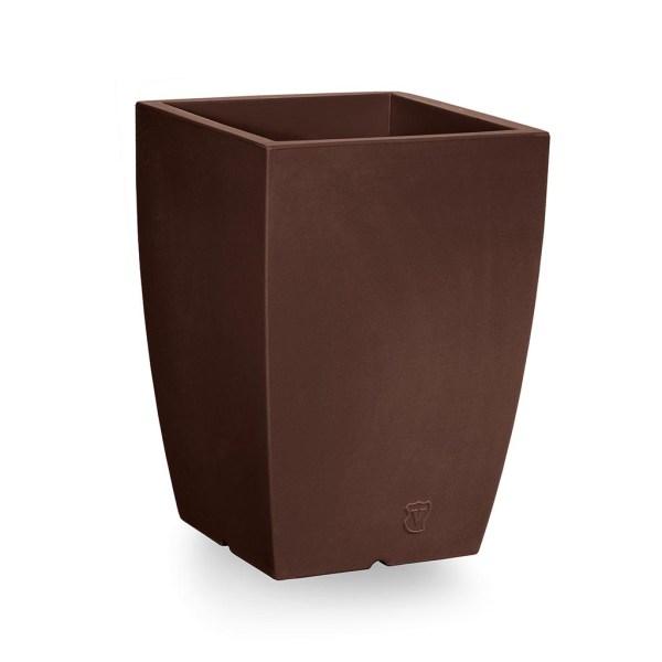 VECA - Bloempot Genesis, vierkant, H60 cm, bruin- kunststofbloempot.nl