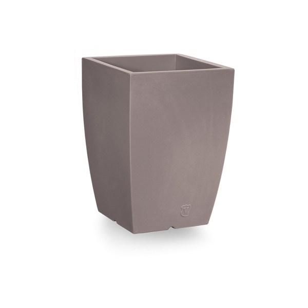 VECA - Bloempot Genesis, vierkant, H50 cm, taupe - kunststofbloempot.nl