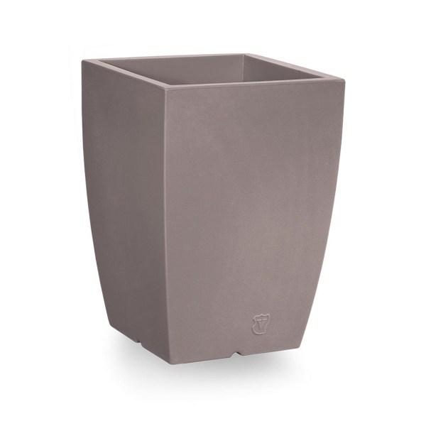 VECA - Bloempot Genesis, vierkant, H60 cm, taupe - kunststofbloempot.nl