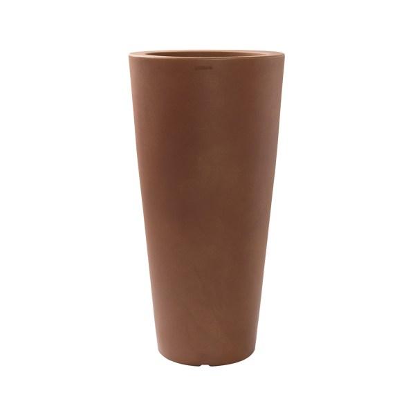 PLASTECNIC - Bloempot Tan Vaso Tondo Alto, rond, H100 cm, roest - kunststofbloempot.nl