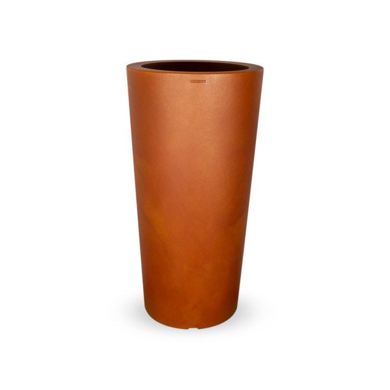 PLASTECNIC - Bloempot Tan Vaso Tondo Alto, rond, H96 cm, roest - kunststofbloempot.nl