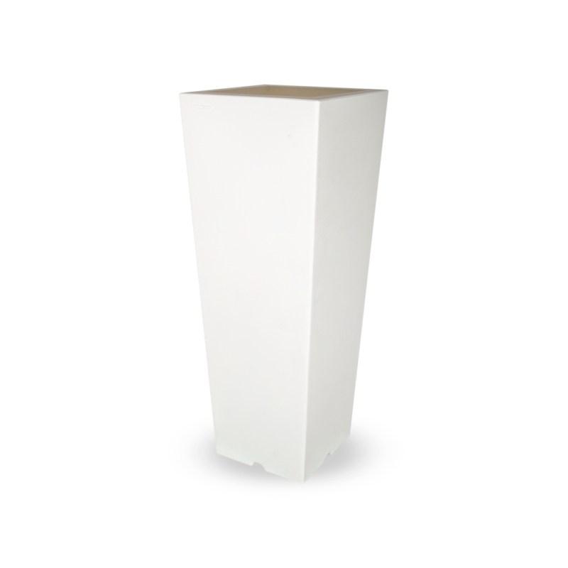 PLASTECNIC - Bloempot Qun Vaso Quadro Alto, H100 cm, wit - kunststofbloempot.nl