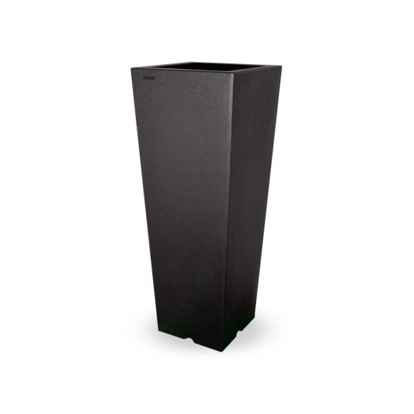 PLASTECNIC - Bloempot Qun Vaso Quadro Alto, H100 cm, zwart - kunststofbloempot.nl